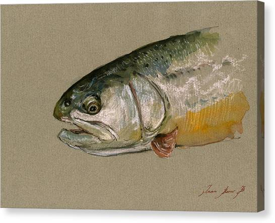 Fly Fishing Canvas Print - Trout Watercolor Painting by Juan  Bosco