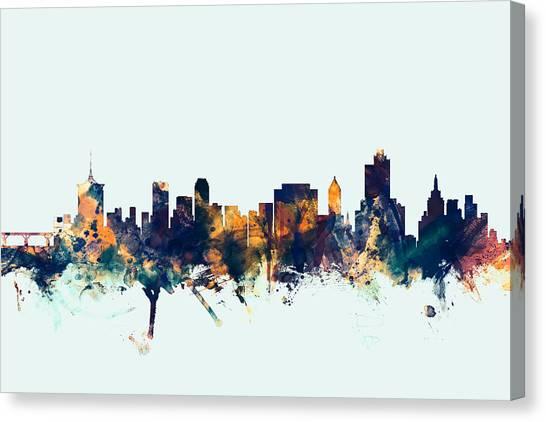 Oklahoma Canvas Print - Tulsa Oklahoma Skyline by Michael Tompsett