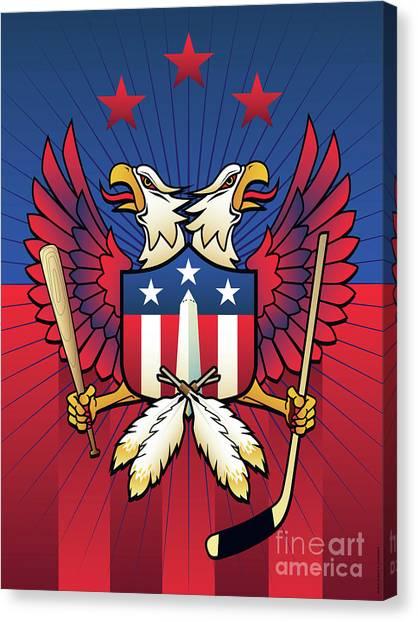 Washington Capitals Canvas Print - Washington Dc Double Eagle Sports Fan Crest by Joe Barsin