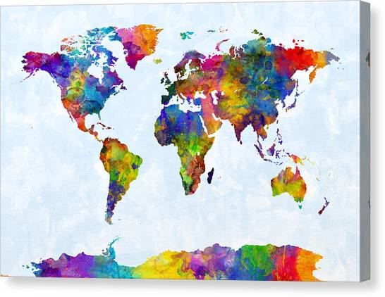 Planet Canvas Print - Watercolor Map Of The World Map by Michael Tompsett