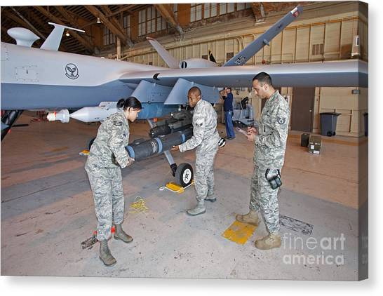Warheads Canvas Print - Weapons Loaders Prepare To Load An by HIGH-G Productions
