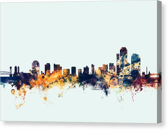 Delaware Canvas Print - Wilmington Delaware Skyline by Michael Tompsett