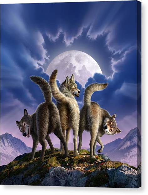 Wolf Moon Canvas Print - 3 Wolves Mooning by Jerry LoFaro