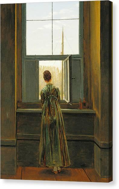 Caspar Canvas Print - Woman At A Window by Caspar David Friedrich