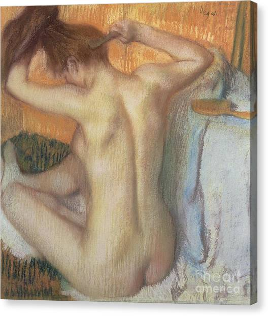 Figure Canvas Print - Woman Combing Her Hair by Edgar Degas