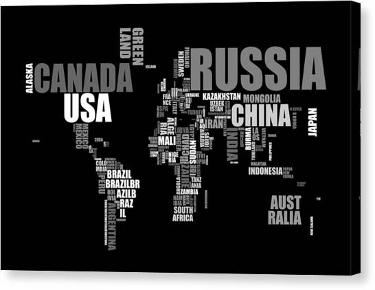 World Map Canvas Print - World Map In Words by Michael Tompsett