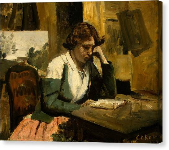 Camille Canvas Print - Young Girl Reading by Jean-Baptiste-Camille Corot