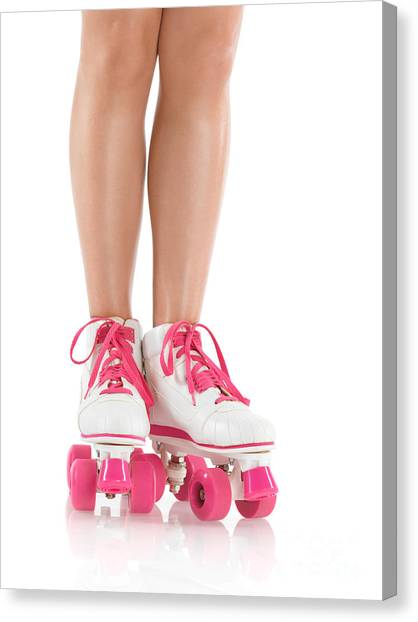 Roller Skating Canvas Print - Young Woman Wearing Roller Derby Skates by Oleksiy Maksymenko