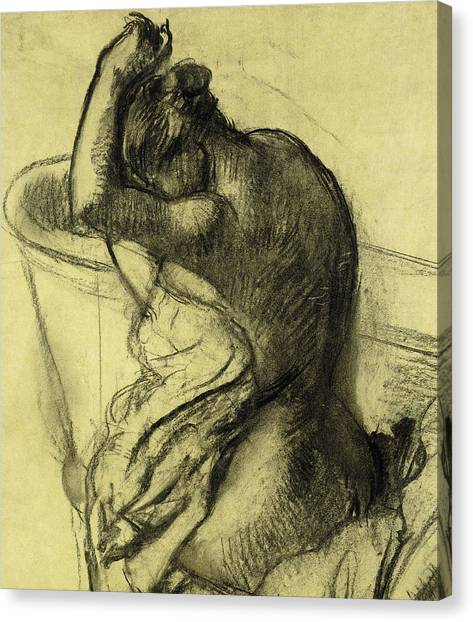 Edgar Degas Canvas Print - After The Bath by Edgar Degas