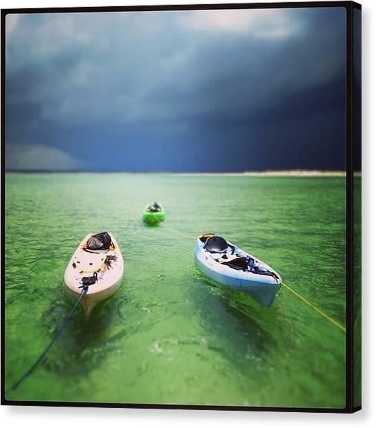 Kayaks Canvas Print - Three Kayaks by Jeffrey Domke