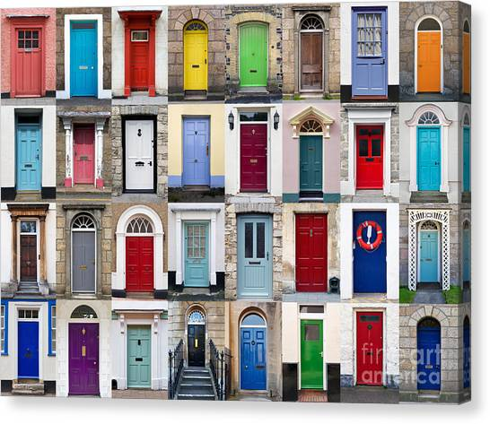 Composition Canvas Print - 32 Front Doors Horizontal Collage  by Richard Thomas