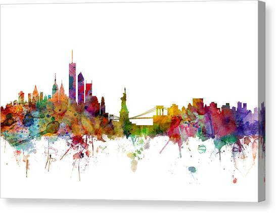 Apples Canvas Print - New York Skyline by Michael Tompsett