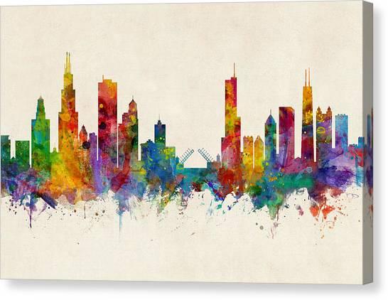 Chicago Skyline Canvas Print - Chicago Illinois Skyline by Michael Tompsett