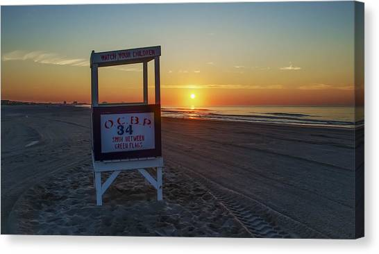 City Sunrises Canvas Print - 34th Street Ocean City by Bill Cannon