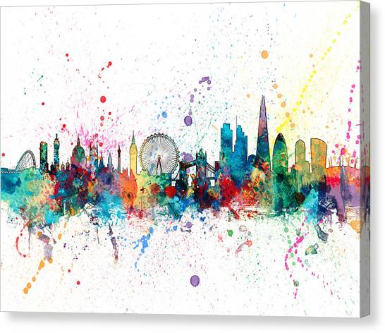 England Canvas Print - London England Skyline by Michael Tompsett