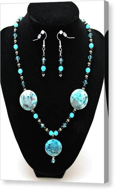 Sterling Silver Canvas Print - 3508 Crazy Lace Agate Necklace And Earrings by Teresa Mucha