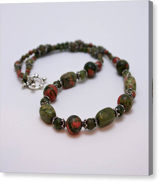 Sterling Silver Canvas Print - 3579 Unakite Necklace  by Teresa Mucha