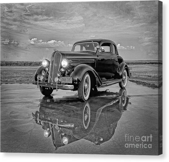 36 Plymouth Reflections Pencil Sketch Canvas Print