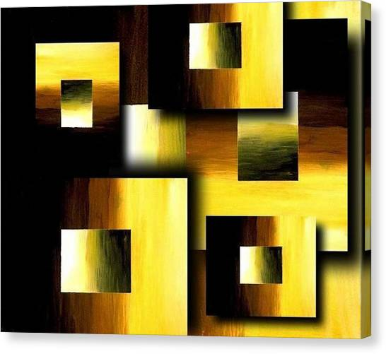 3d Golden Squares Canvas Print by Teo Alfonso
