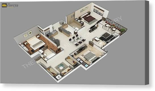 3D Floor Plan Canvas Prints | Fine Art America