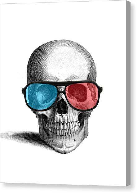 Anatomy Canvas Print - skull with 3D glasses by Madame Memento