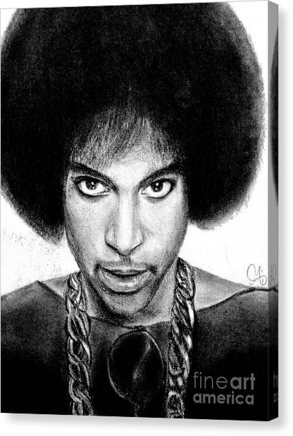 Canvas Print featuring the drawing 3rd Eye Girl - Prince Charcoal Portrait Drawing - Ai P Nilson by Ai P Nilson