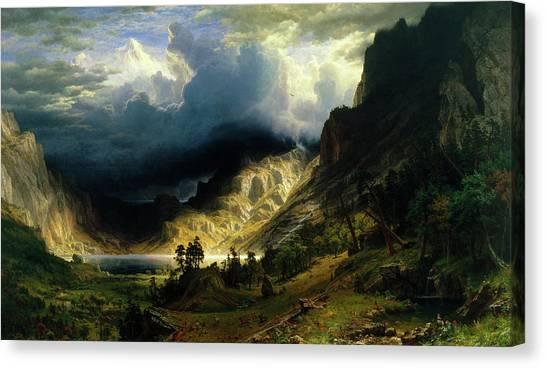 Mountain Cliffs Canvas Print - A Storm In The Rocky Mountains by Albert Bierstadt