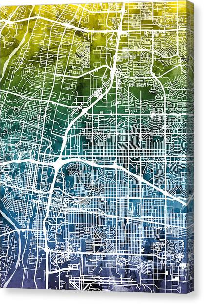 New Mexico Map Canvas Print - Albuquerque New Mexico City Street Map by Michael Tompsett