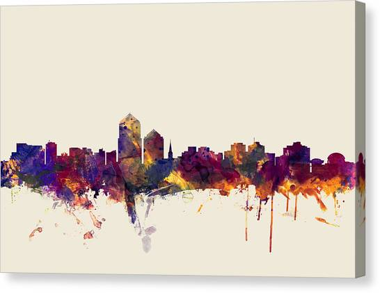 New Mexico Canvas Print - Albuquerque New Mexico Skyline by Michael Tompsett