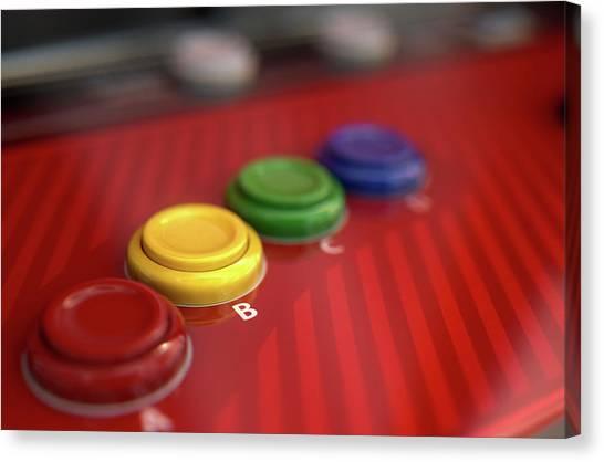 Gaming Consoles Canvas Print - Arcade Control Panel  by Allan Swart
