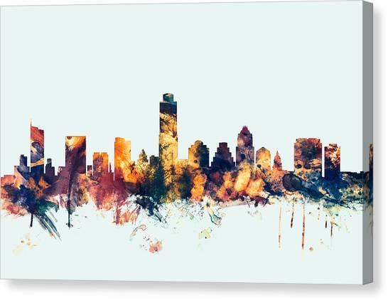 Austin Skyline Canvas Print - Austin Texas Skyline by Michael Tompsett