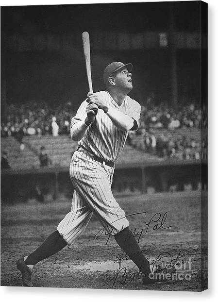 Babe Ruth Canvas Print - Babe Ruth  by American School