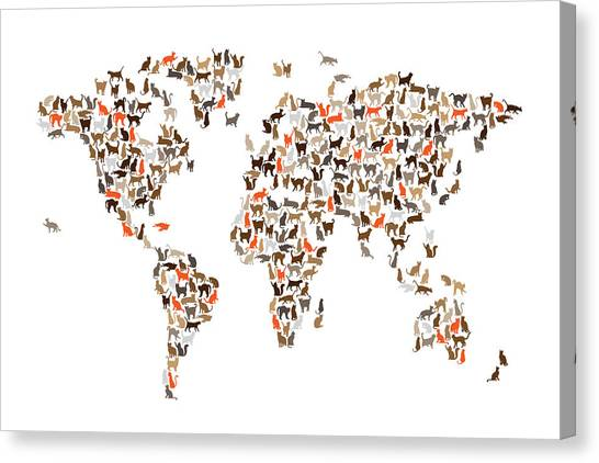 Cat map canvas prints fine art america cat map canvas print cats map of the world map by michael tompsett gumiabroncs Image collections