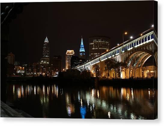 Horizon League Canvas Print - Cleveland From The River by Alex Jones