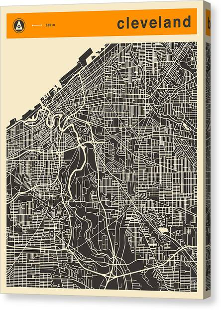 Cleveland Canvas Print - Cleveland Map by Jazzberry Blue