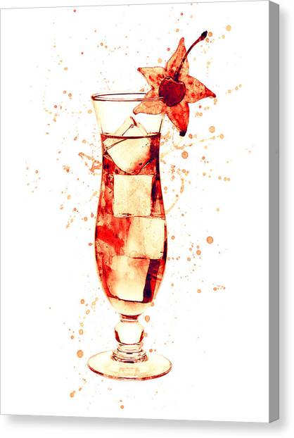 Martini Canvas Print - Cocktail Drinks Glass Watercolor by Michael Tompsett