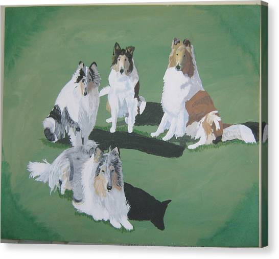 4 Collies Canvas Print by Wendy Jackson