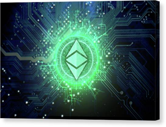 Etc Canvas Print - Cryptocurrency Hologram And Circuit Board by Allan Swart