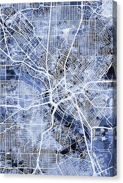 Dallas Canvas Print - Dallas Texas City Map by Michael Tompsett