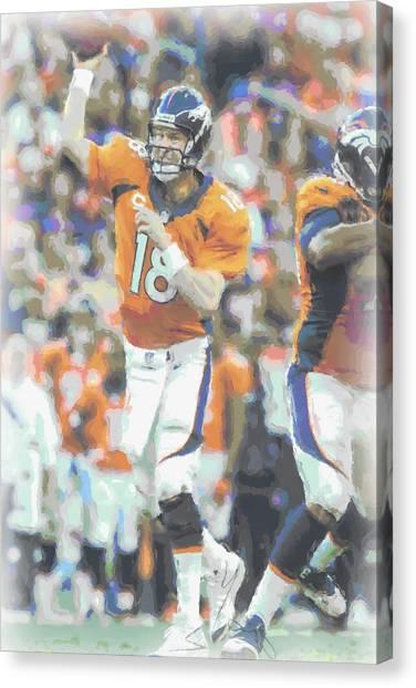 Peyton Manning Canvas Print - Denver Broncos Peyton Manning by Joe Hamilton
