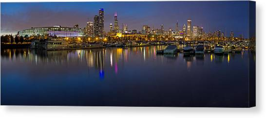 Soldier Field Canvas Print - Downtown Chicago From Burnham Harbor by Twenty Two North Photography