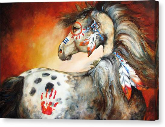 Equine Canvas Print - 4 Feathers Indian War Pony by Marcia Baldwin