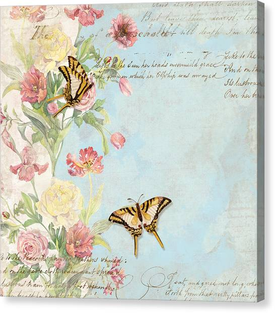 Fleurs De Pivoine - Watercolor W Butterflies In A French Vintage Wallpaper Style Canvas Print