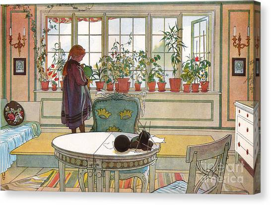 Candlestick Canvas Print - Flowers On The Windowsill by Carl Larsson