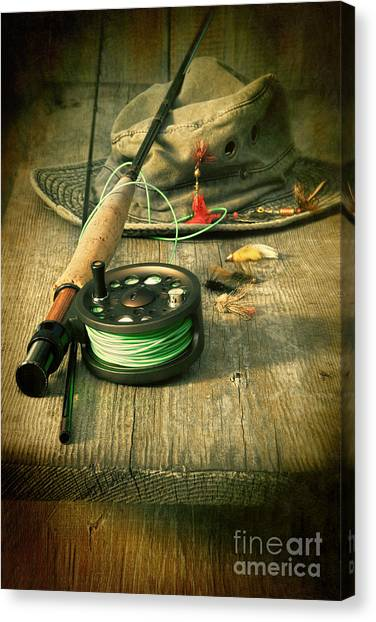 Fly Fishing Equipment With Old Hat On Bench Canvas Print