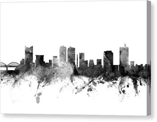 Watercolour Canvas Print - Fort Worth Texas Skyline by Michael Tompsett