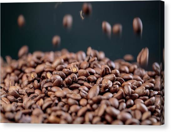 Meat Canvas Print - Fresh Roasted Coffe Beans by Nailia Schwarz