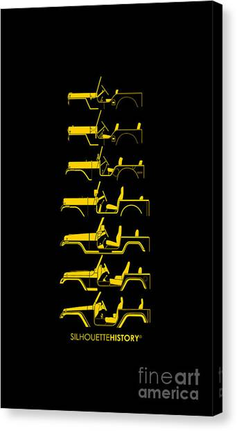 Jeep Canvas Print - General Purpose Silhouettehistory by Balazs Iker