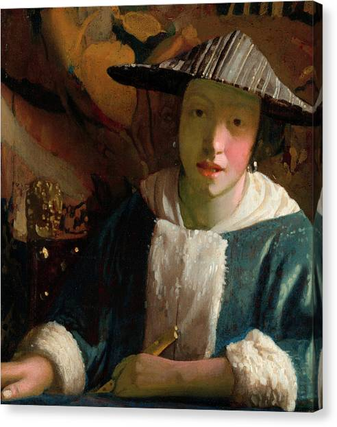 Music Genres Canvas Print - Girl With A Flute by Johannes Vermeer