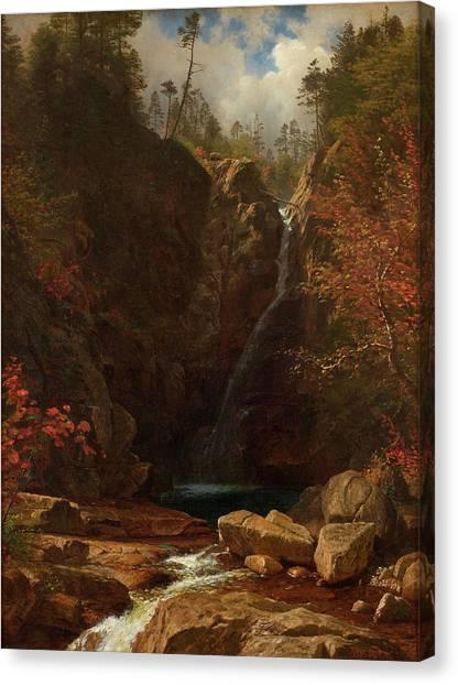 Mountain Cliffs Canvas Print - Glen Ellis Falls by Albert Bierstadt
